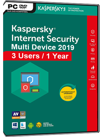 Kaspersky Internet Security Multi-Device 2019 (3 Users / 1 Year)