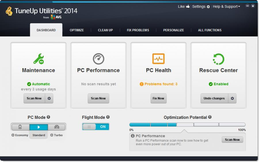 TuneUp Utilities 2014 (3 Users) Screenshot 1